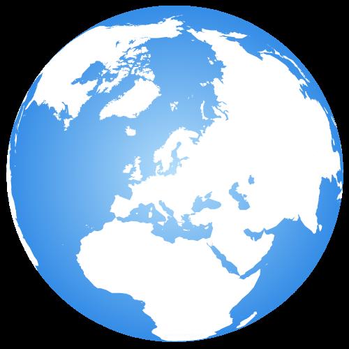 Globe terrestre centré sur l'Europe