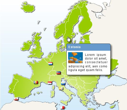 Clickable map of Europe html with CSS bubble tip