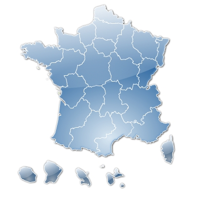 Stylised vector map of France with regions
