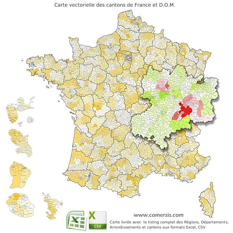 Ancient cantons of France vector map