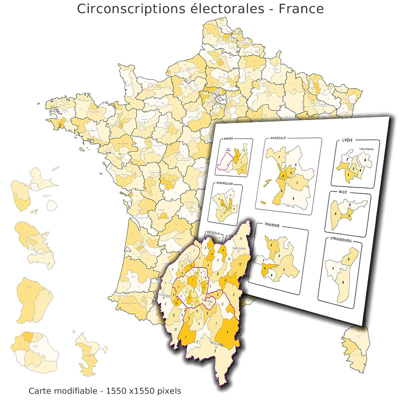 Electoral districts numbered - France map
