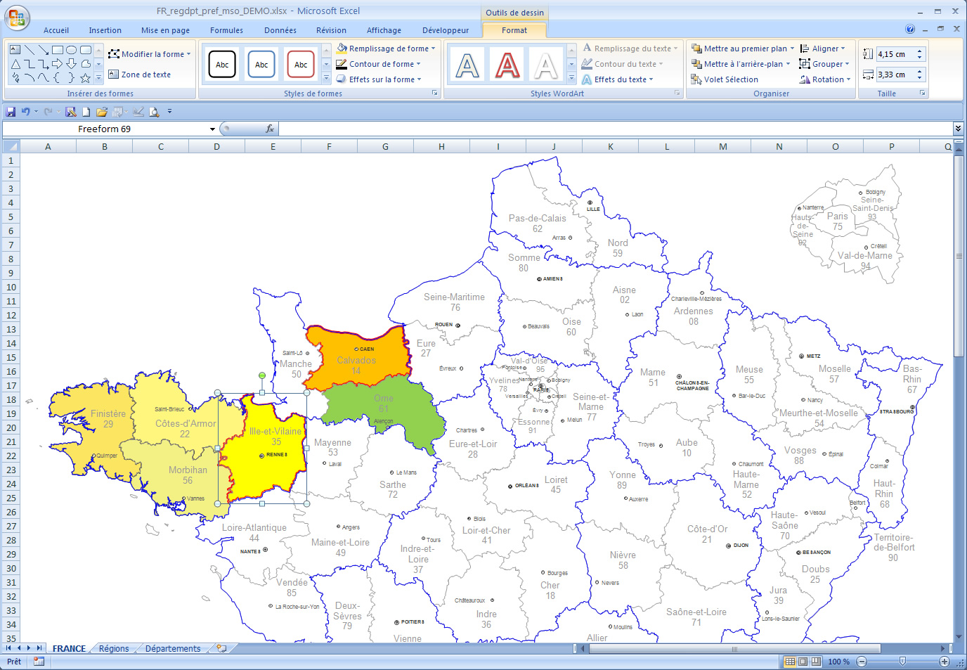 Word and Excel France departements editable map