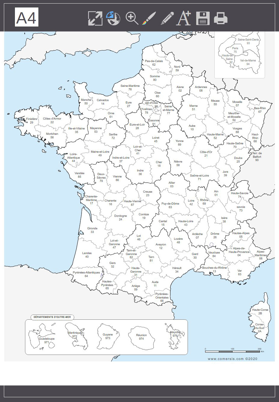 French departments map with name