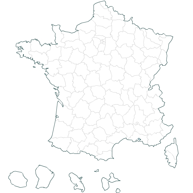 French Departments Blank Map - France map images blank