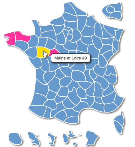 France departements interactive map