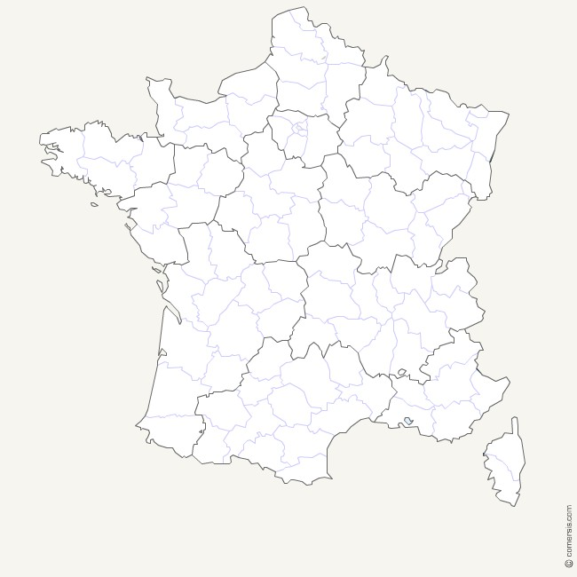 France new regions and departements map