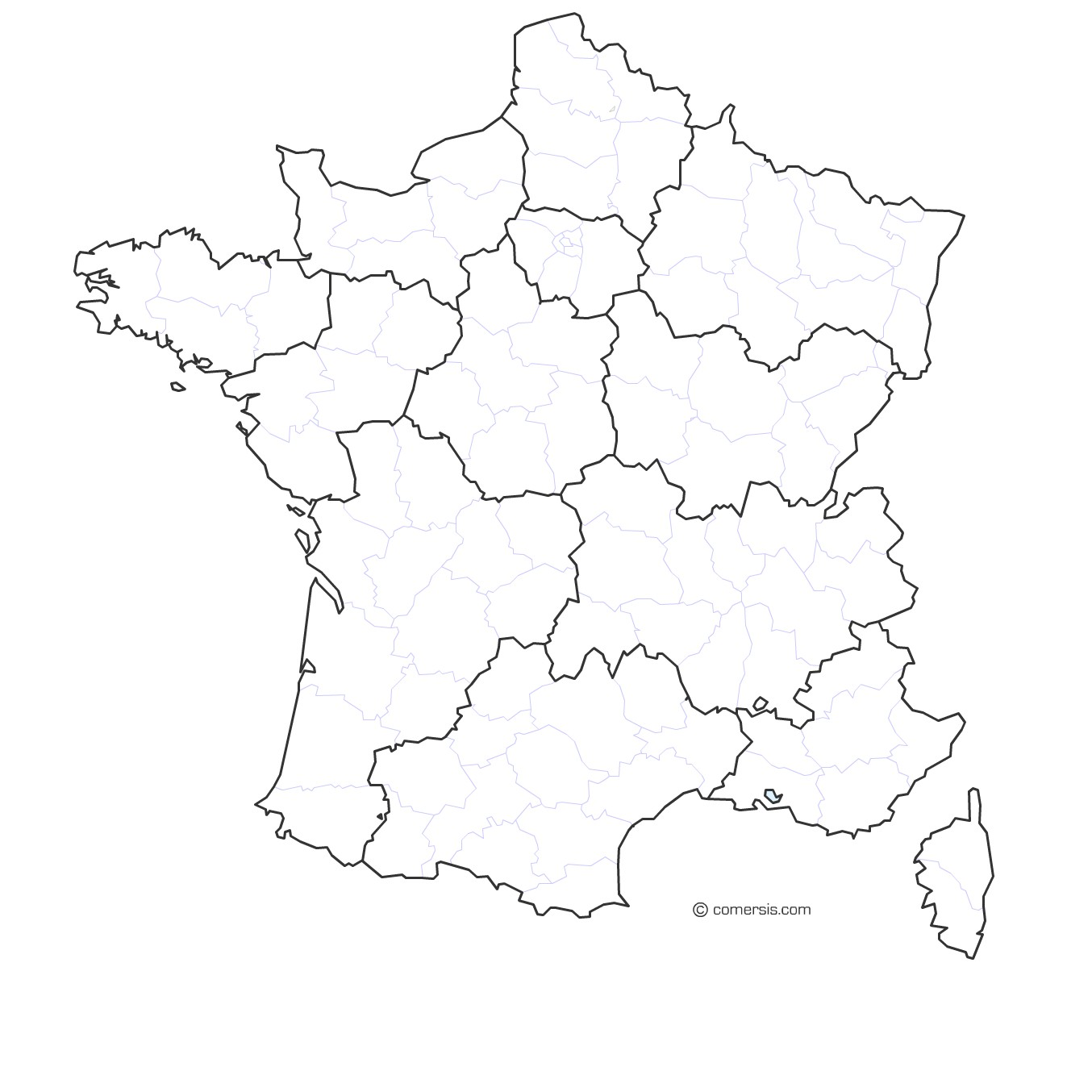 carte des régions vierge French Regions and departments map