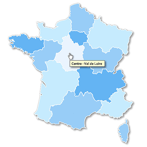 French regions cliquable map full html - free