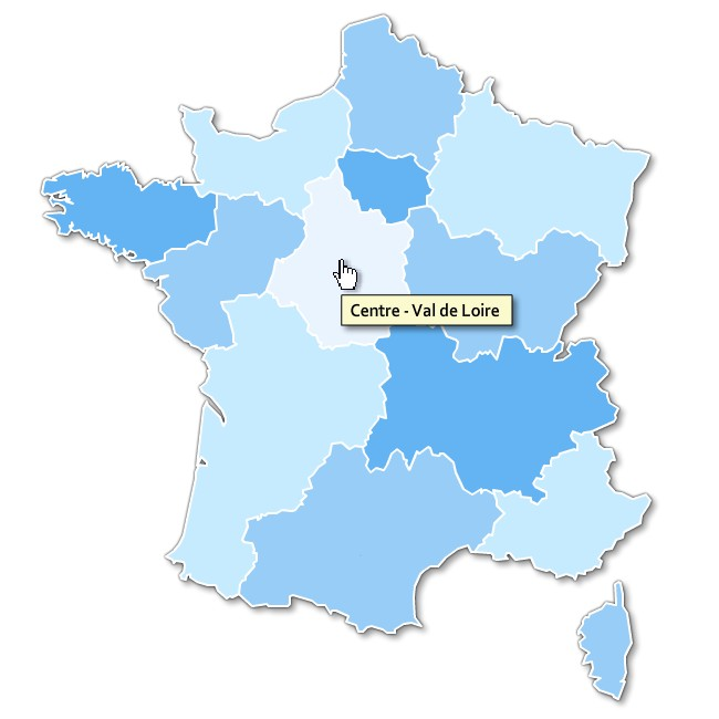 Free full html clickable map of France regions