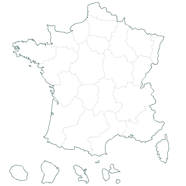 France old regions vector map