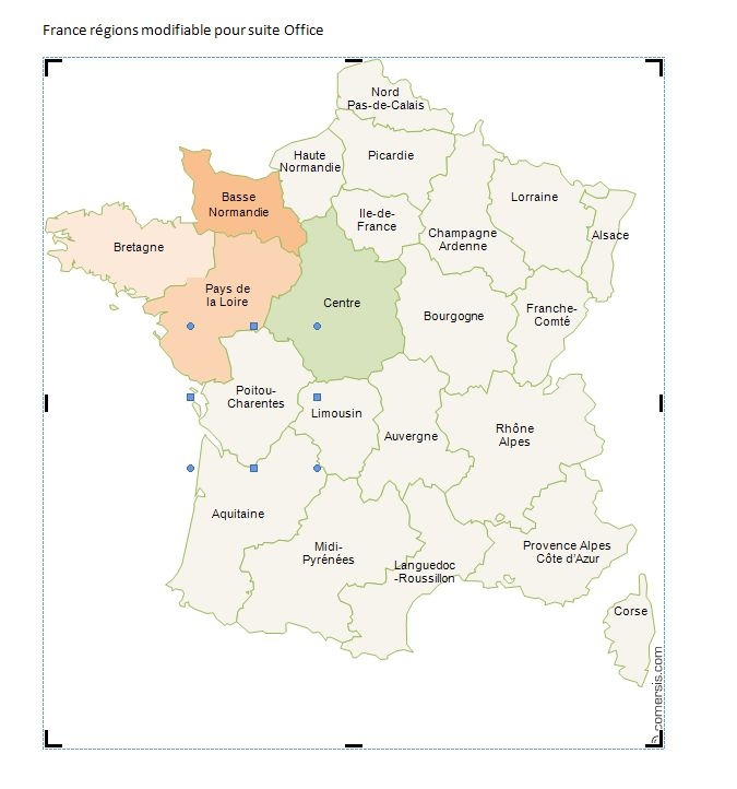 Word and Excel free map France region