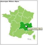 Responsive map of France new regions