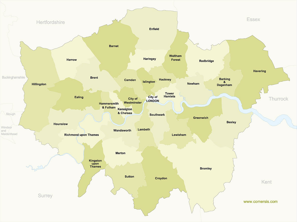 Map Of Greater London Area.Free Map Of Greater London Boroughs With Names