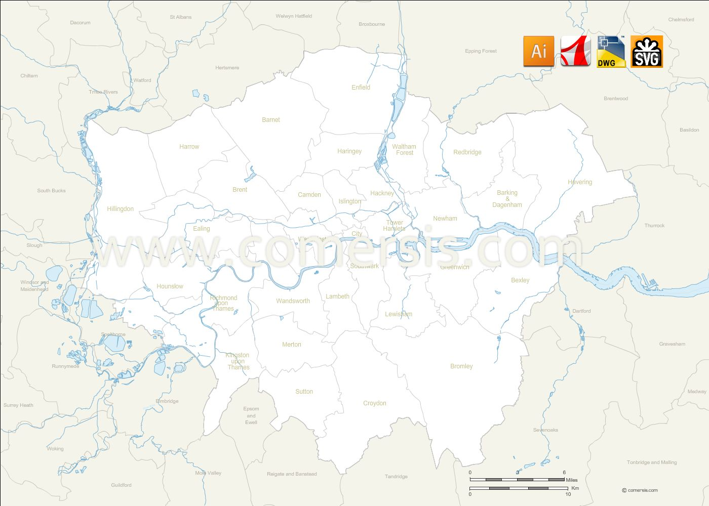 Greater London Vector Map With Borough Boundaries And Names - London map svg