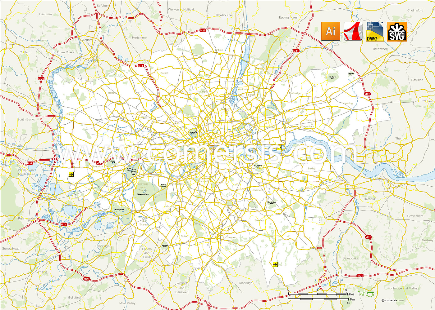London And Greater London Map.Greater London Road Plan Vector Map