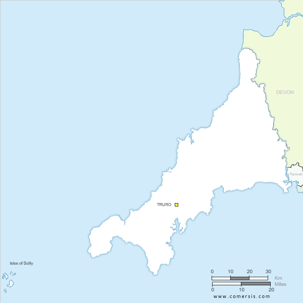 Cornwall free vector map, England