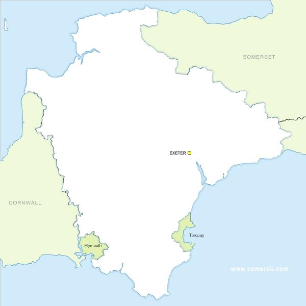 Devon county map vector free