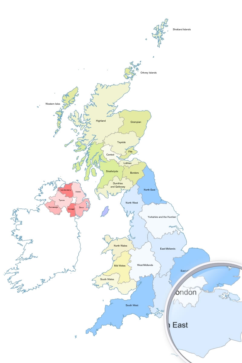 Great britain uk regions vector map gumiabroncs