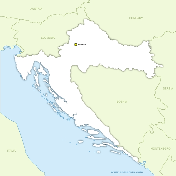 Free vector map of Croatia