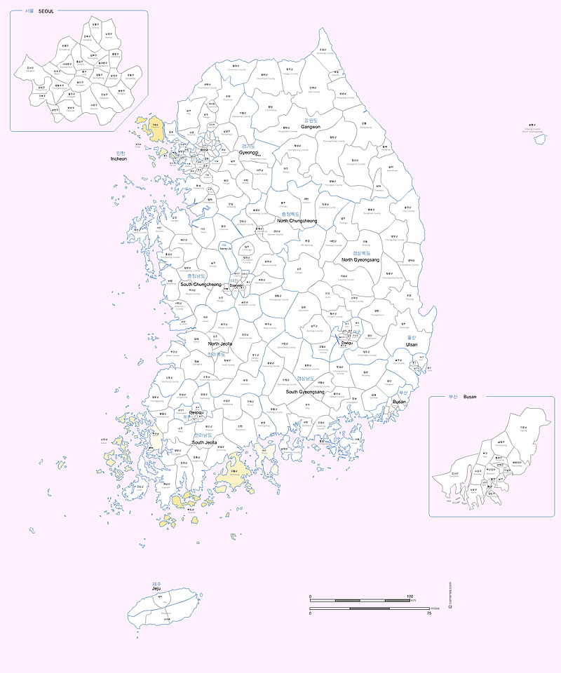 South Korea administrative counties and cities