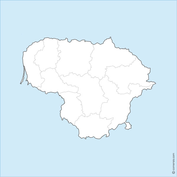 Map of Lithuania editable