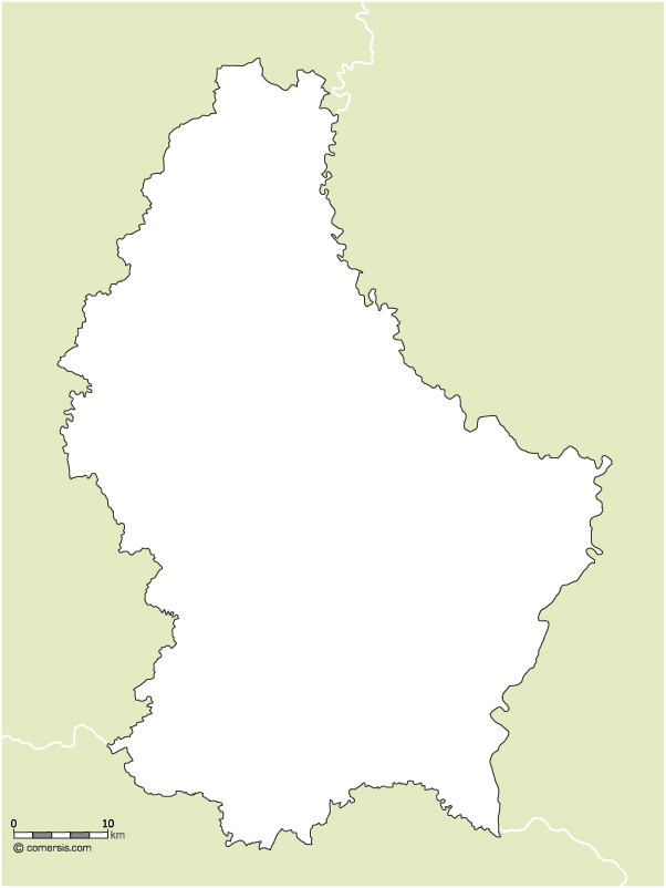 Free blank map of Luxembourg