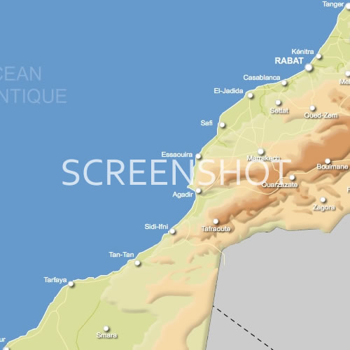 du Maroc vectorielle relief routes et villes