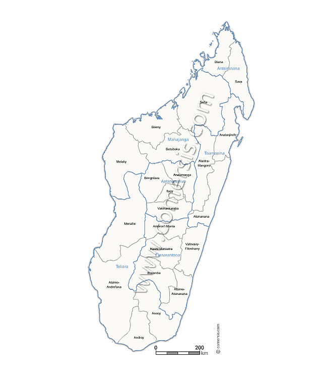 Carte Province Madagascar.Madagascar Regions And Former Provinces Vector Map