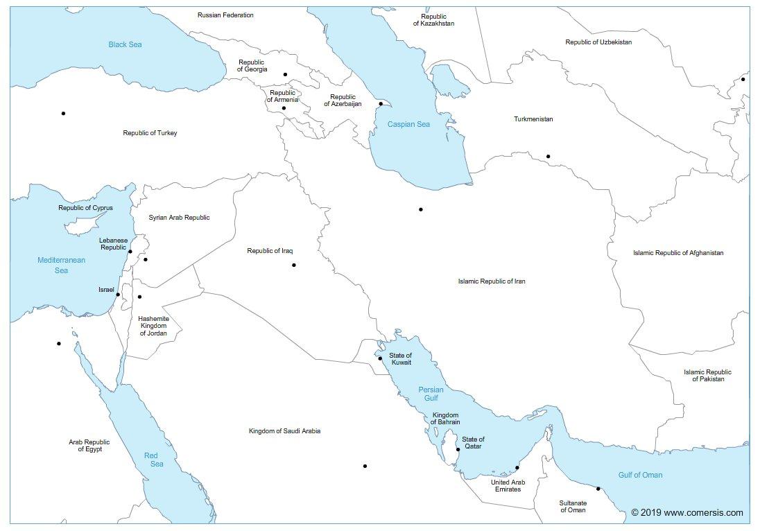 Iran Iraq A4 sized map
