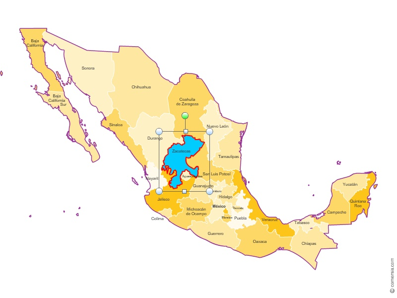mexico states map for excelword and powerpoint
