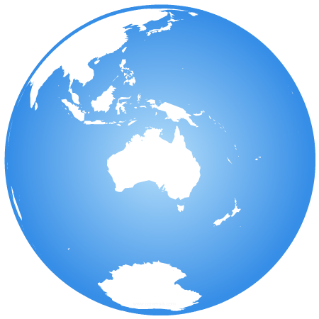 Earth globe centered on Oceania
