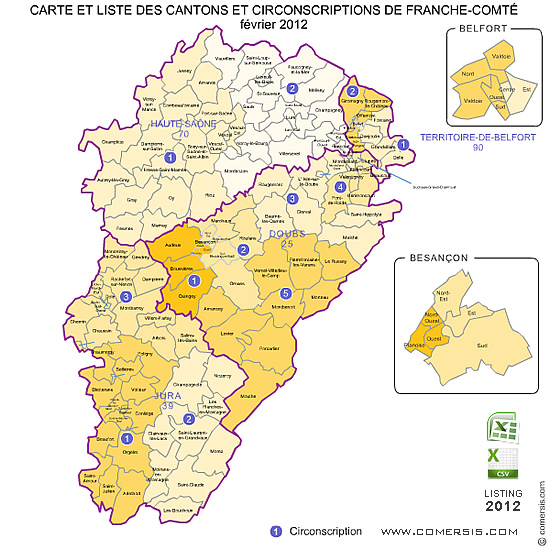 FrancheComt counties map France