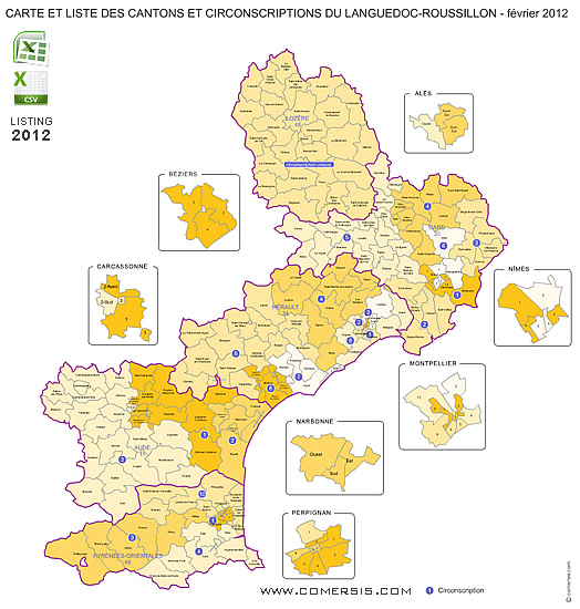 Roussillon France Map.Languedoc Roussillon Counties Map France