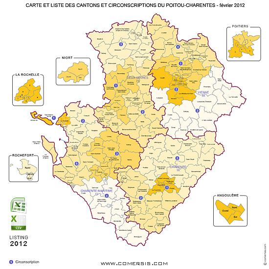Poitou Charentes Counties Map France