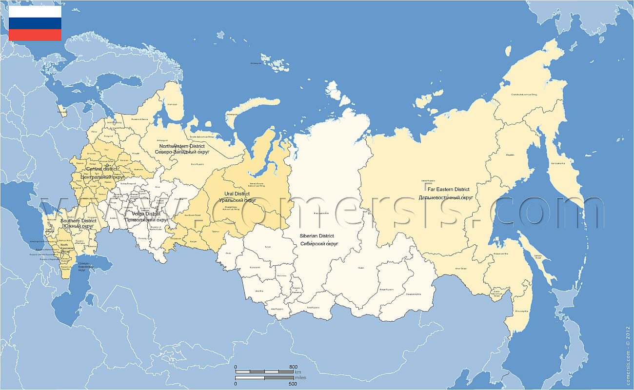 Russian Federation districts and provinces editable map