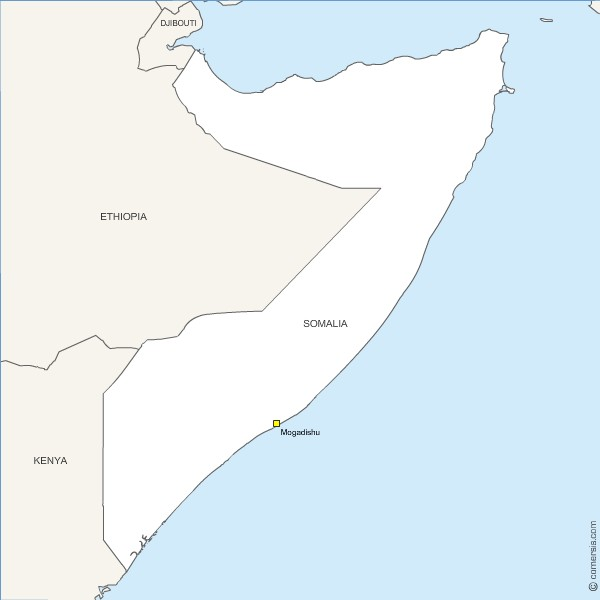 Free editable map of Somalia for Excel, Word and Powerpoint