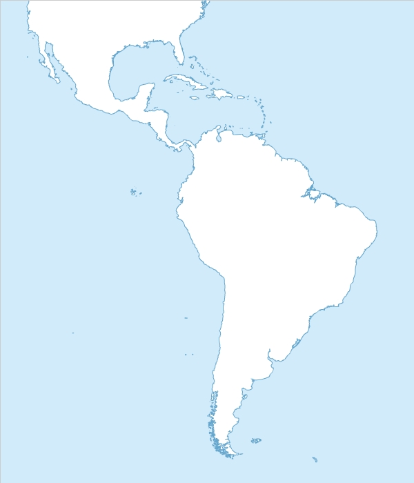 Blank map of South America free
