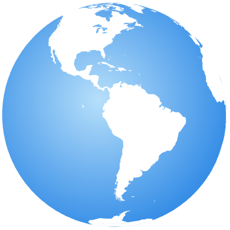 Earth globe centered on Latin America