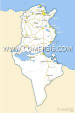 de la Tunisie avec villes et routes