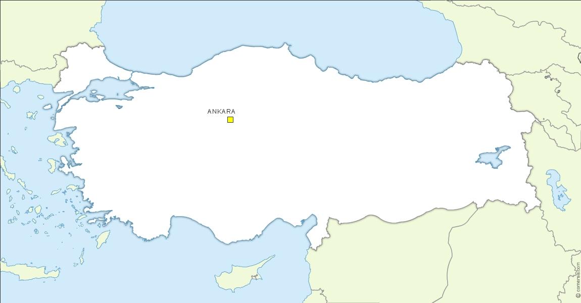 Turkey location map, free vector.