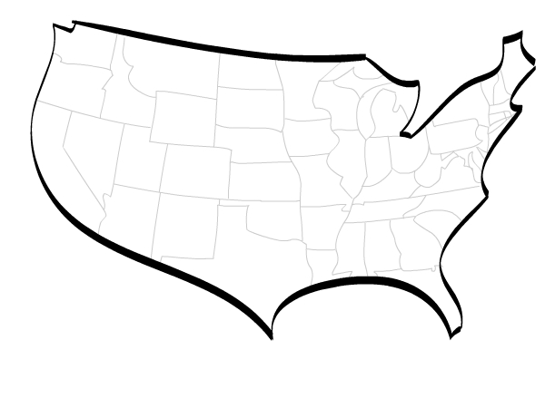 Stylised vector map of USA