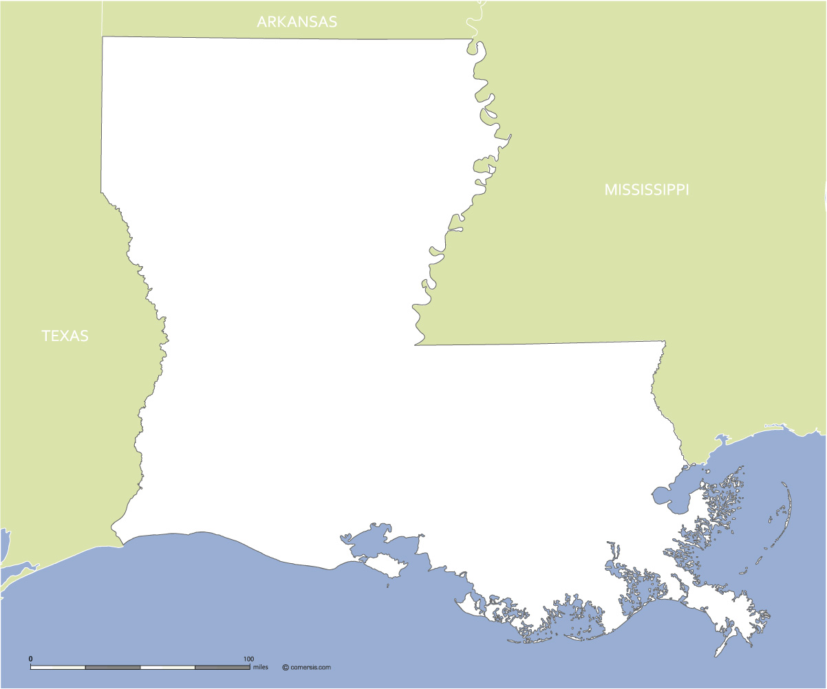 Map Of Texas And Louisiana Border.Free Blank Map Of Louisiana Us State