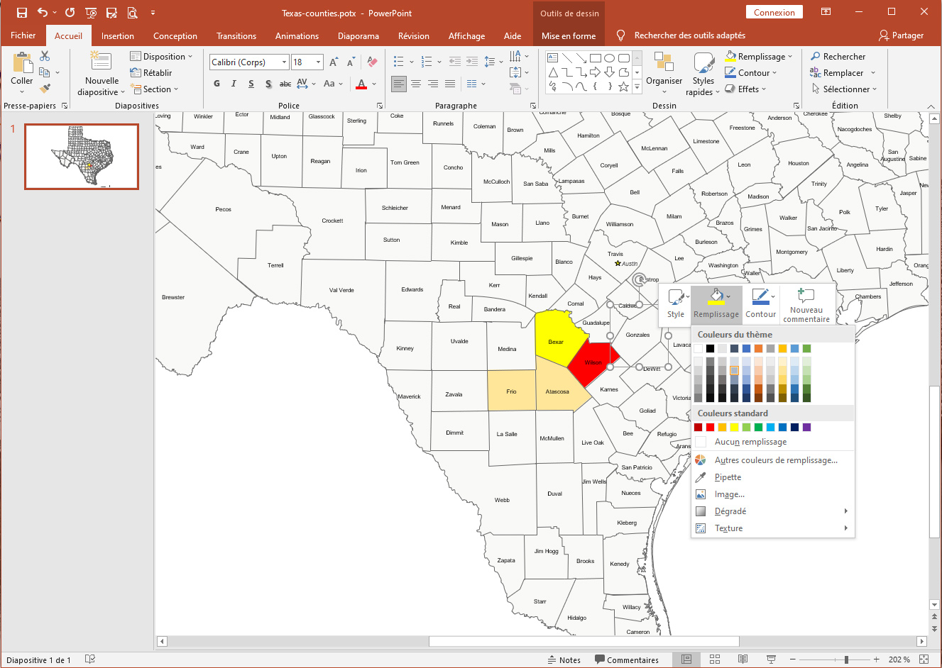 Texas counties editable map for Office
