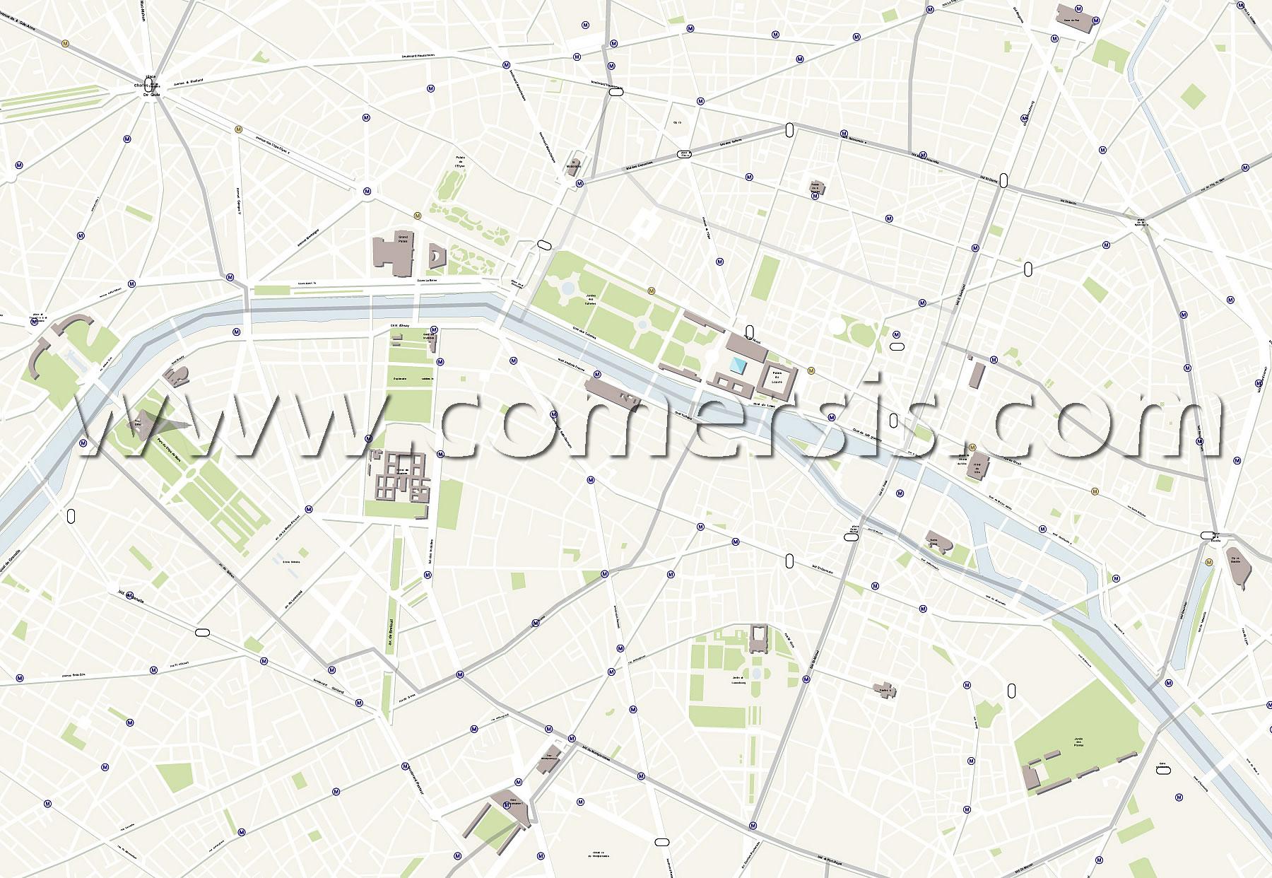 Paris street map detail